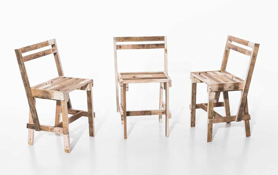 Europalette Chairs – 3 chairs made of one europalette (2012)